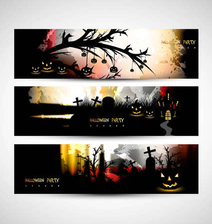 abstract bright header set of three halloween party vector  Vector