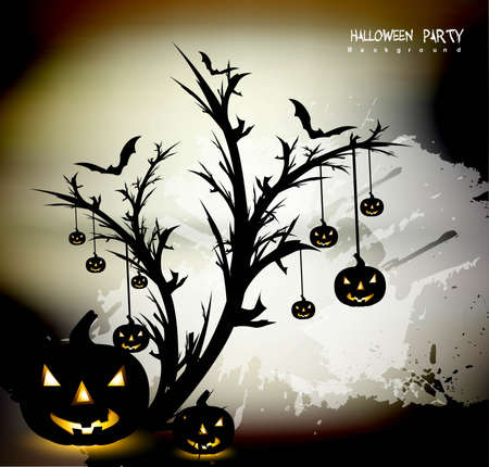 Halloween Scary pumpkins evening background vector Stock Vector - 18838608