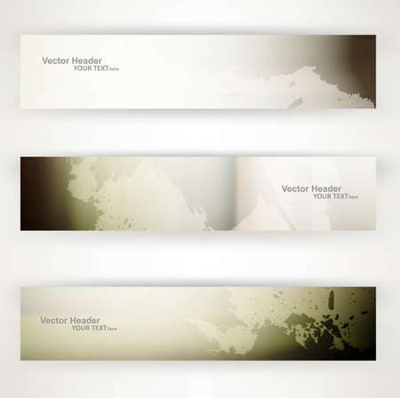 whit: abstract  grunge headers set of three vector whit