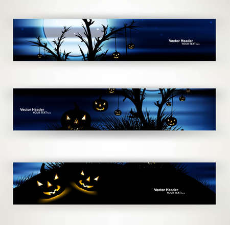 abstract bright blue header set of three halloween party vector Stock Vector - 18838668