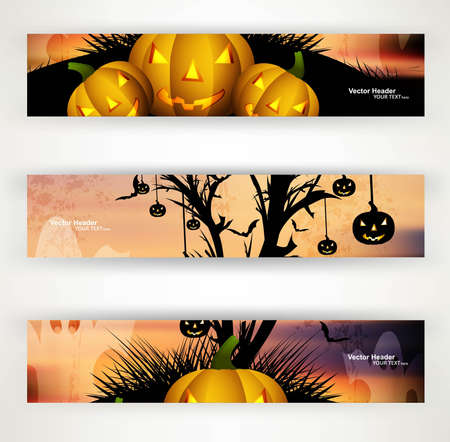 abstract bright header set of three halloween vector party Vector