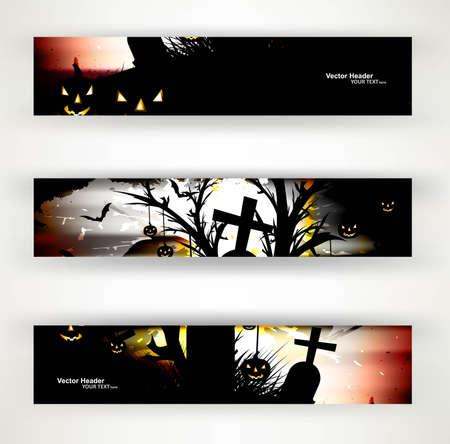 abstract bright header set of three halloween party design vector Stock Vector - 18838665
