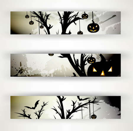 abstract bright header set of three halloween vector illustration Stock Vector - 18838656