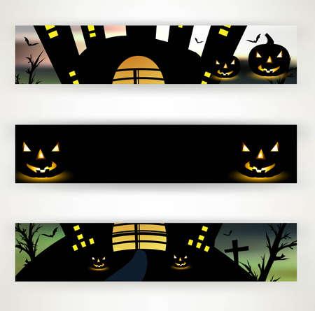 halloween header set of three vector illustration Stock Vector - 18838623