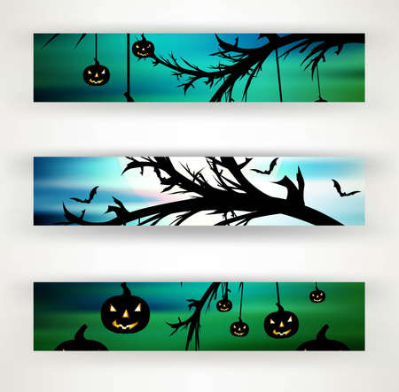 halloween party header set of three vector illustration Stock Vector - 18838654