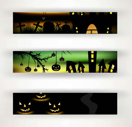 wicked set: halloween party header set of three vector design Illustration