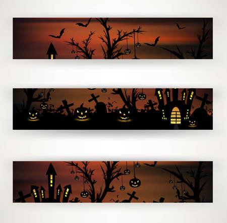 abstract bright header set of three halloween party design illustration Illustration
