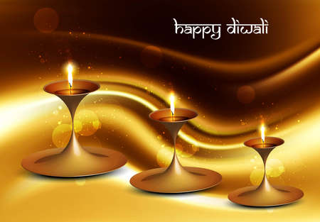 Happy diwali beautiful illuminating Diya background festival wave vector Vector
