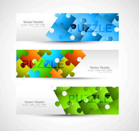 business puzzle: puzzle Set of header colorful Vector illustration Illustration