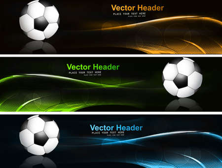 abstract bright colorful headers soccer ball set wave vector illustration