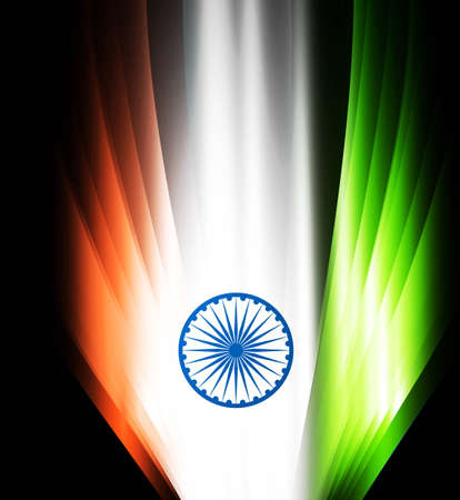 Indian flag black bright tricolor wave  illustration Vector