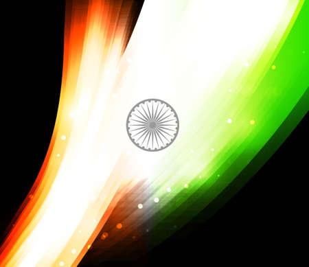 abstract Indian shiny flag black tricolor wave design Vector