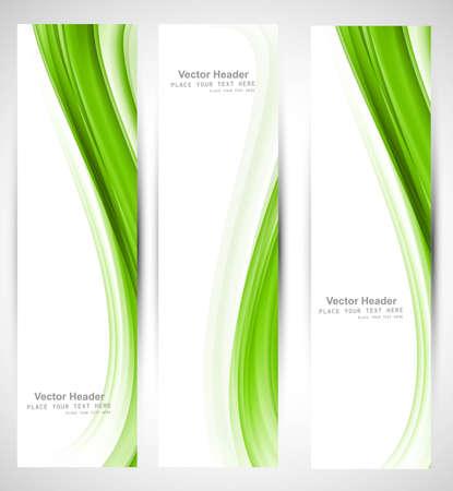 추상 세로 헤더 녹색 물결 벡터 디자인 일러스트