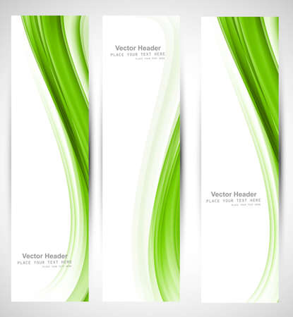 wave vector: Abstract vertical header green wave vector design Illustration