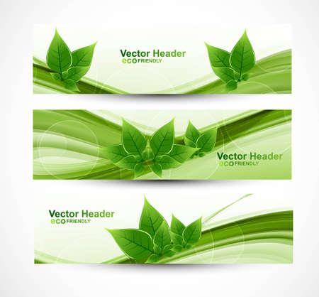 abstract header natural eco green lives wave