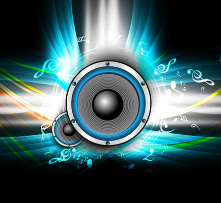 music notes vector: abstract Speakers bright background colorful wave music notes vector illustration