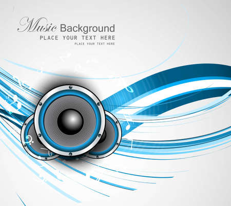 abstract Speakers blue bright background wave vector Stock Vector - 18870600