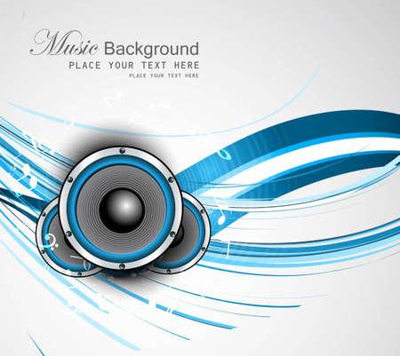 Haut-parleurs abstraits de vecteur d'onde lumineuse de fond bleu Vecteurs