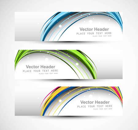 website header: Abstract header line colorful wave technology vector illustration