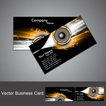 abstract stylish black bright colorful business card music vector design Vector