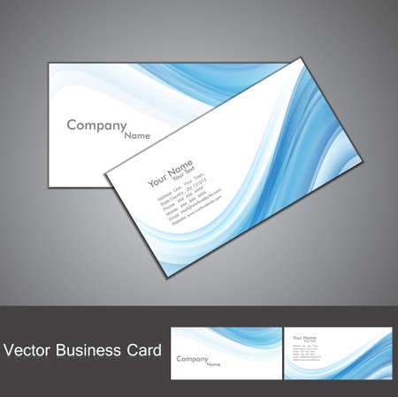 visiting card design: abstract blue colorful wave business card set