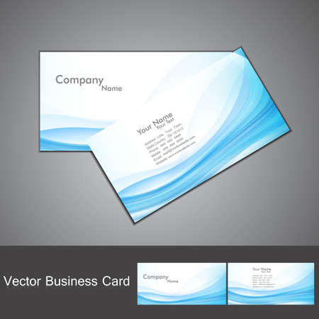 abstract blue colorful fantastic wave business card set vector Vector