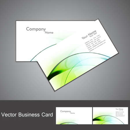 abstract green shiny colorful wave marketing business card set design