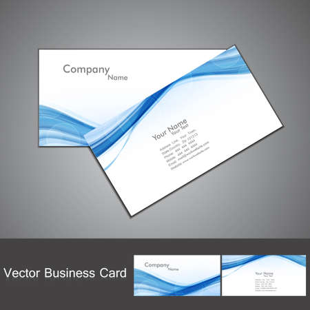 abstract blue colorful wave business card set vector illustration Stock Vector - 18873877
