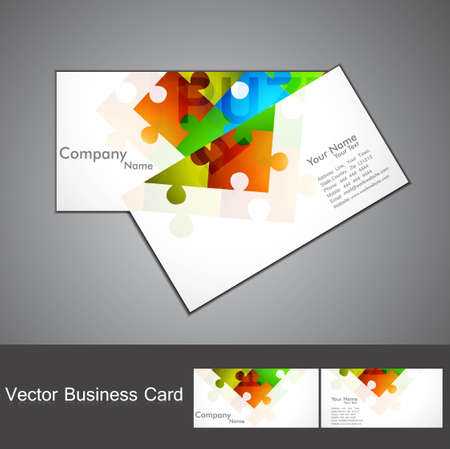 abstract puzzle Set of business card colorful Vector  Vector