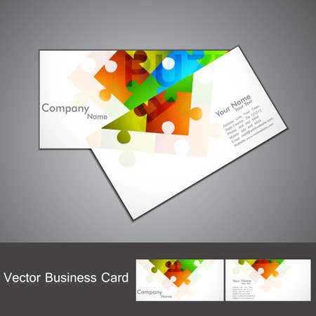 visitekaartje: abstracte puzzel Set van visitekaartje kleurrijke Vector