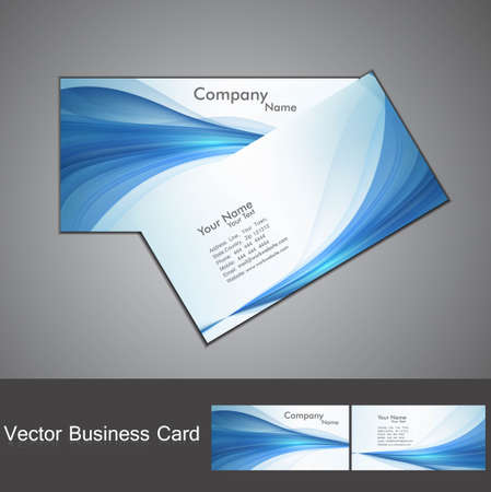 abstract blue colorful stylish wave business card set  Illustration