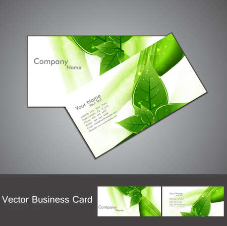 abstract green lives colorful stylish business card set design illustration Stock Vector - 18873895