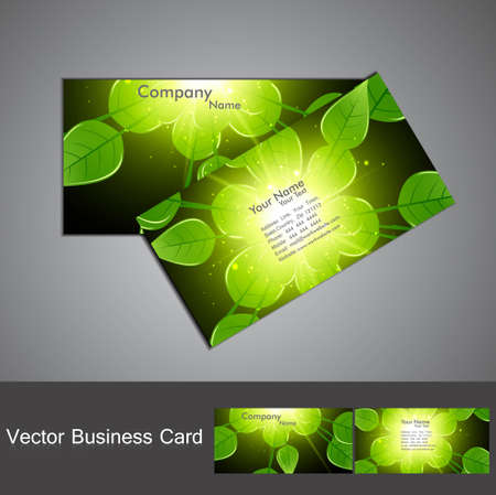 abstract green lives shiny colorful stylish business card set vector  Vector