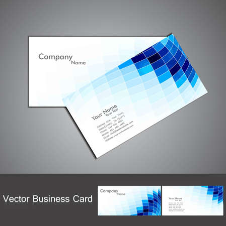 abstract blue colorful fantastic mosaic business card set vector  Vector