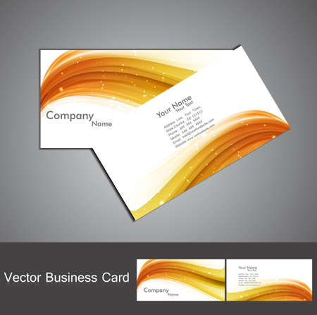abstract golden colorful stylish wave business card set design
