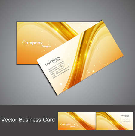 abstract shiny golden colorful stylish wave business card set  Vector