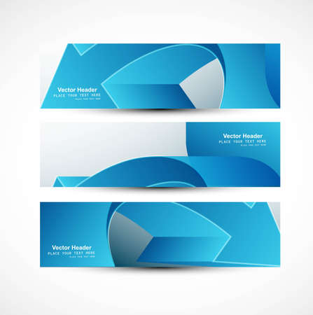 whit: Abstract header blue arrow vector whit background illustration