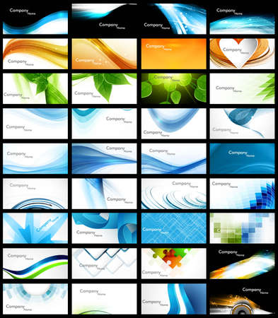 blank business card: abstract Various 36 Business Card set header collection vector design