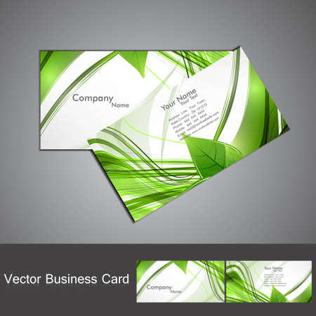 abstract green lives colorful stylish business card design vector Vector