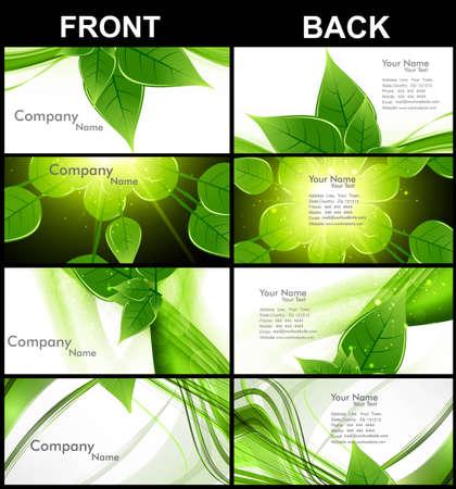 visitekaartje: abstracte groene leeft glanzende kleurrijke collectie visitekaartje set vector illustratie