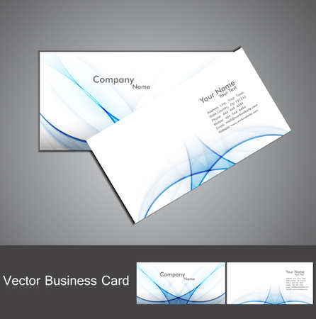 abstract shiny blue colorful wave business card set background illustration Vector