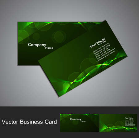 abstract green bright colorful line wave Professional business card vector Vector