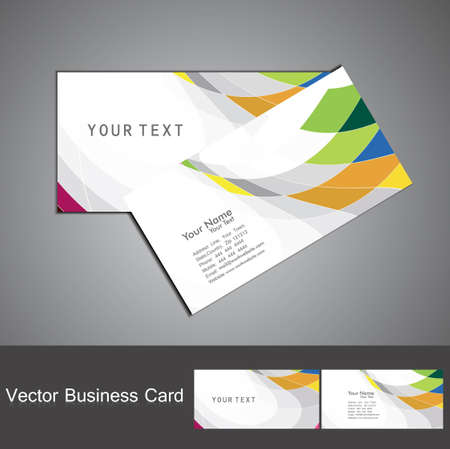 visiting: abstract rainbow colorful mosaic business card set vector