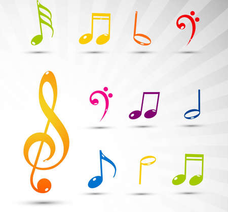 Various colorful musical notes background Vector