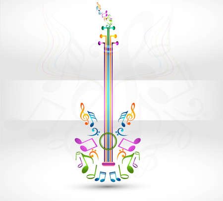 acoustic ukulele: abstract ornamental music notes guitar vector illustration background Illustration