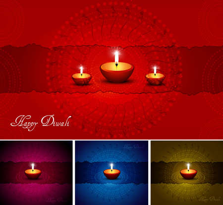 abstract beautiful happy diwali card collection vector background Vector