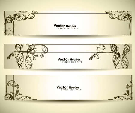 Abstract banners on different floral vector illustration. Stock Vector - 19164718