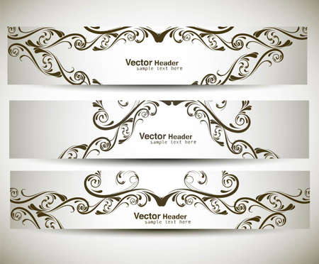 Abstract banners on different floral vector design Stock Vector - 19164719