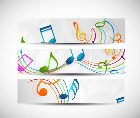 Set of abstract colorful music headers vector Vector