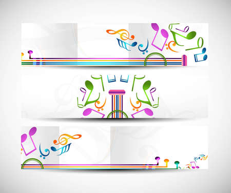 Set of abstract colorful music headers vector background